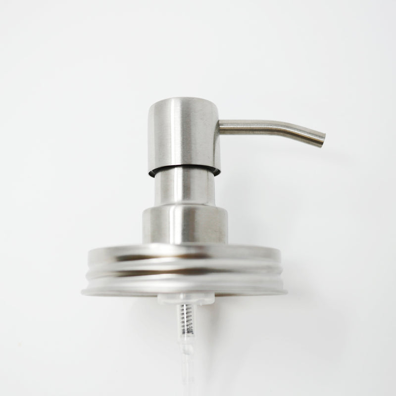 product image of a reusable, zero waste silver stainless steel foaming mason jar pump.