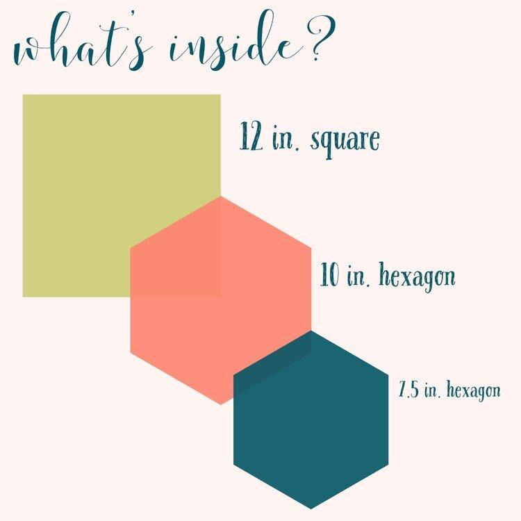 colorful graphic showing the size and shape of the wraps. One 12in. square, one 10in. hexagon, one 7.5in. hexagon