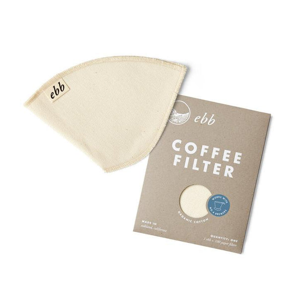 reusable organic cotton filter for zero waste coffee brewing.