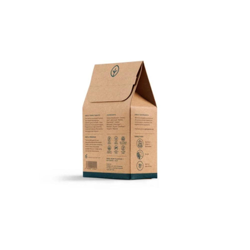 product image of the back of a small brown recyclable kraft box with green print and containing english peppermint mouthwash tablets
