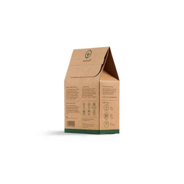 product image of the back of a small brown recyclable kraft box with green print and containing spearmint mouthwash tablets