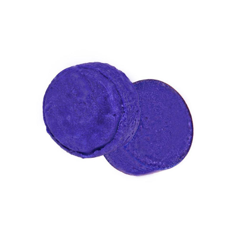 Product image of zero waste round deep purple shampoo and conditioner bars for blonde toner.