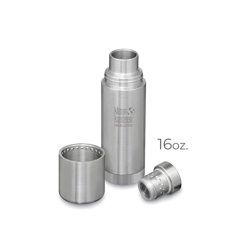 Product image of the 16oz. stainless steel klean kanteen. Image is showing the three parts of the canteen separated; the canteen body, the adjustable pouring lid, and the top lid that doubles as a cup.