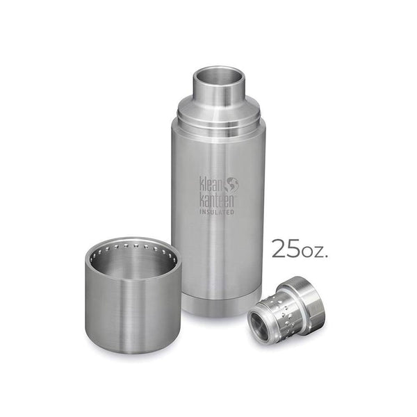 Product image of the 25oz. stainless steel klean kanteen. Image is showing the three parts of the canteen separated; the canteen body, the adjustable pouring lid, and the top lid that doubles as a cup.