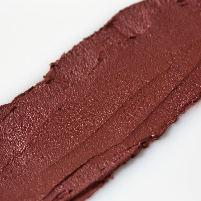Product image of a maroon balmie color smeared across a white background