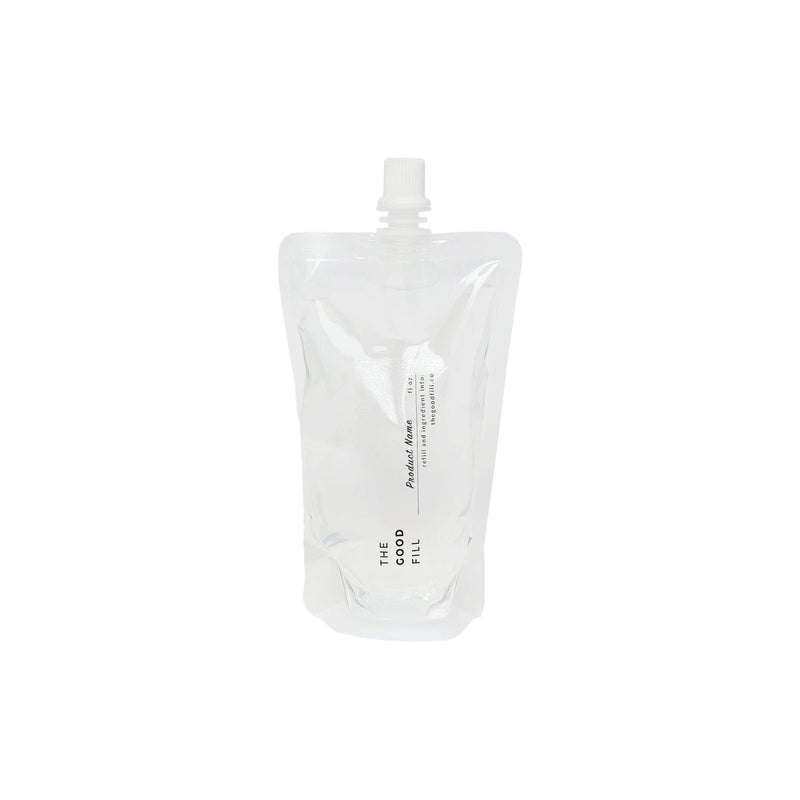 product image of clear zero waste refill pouch for package free hand sanitizer refills