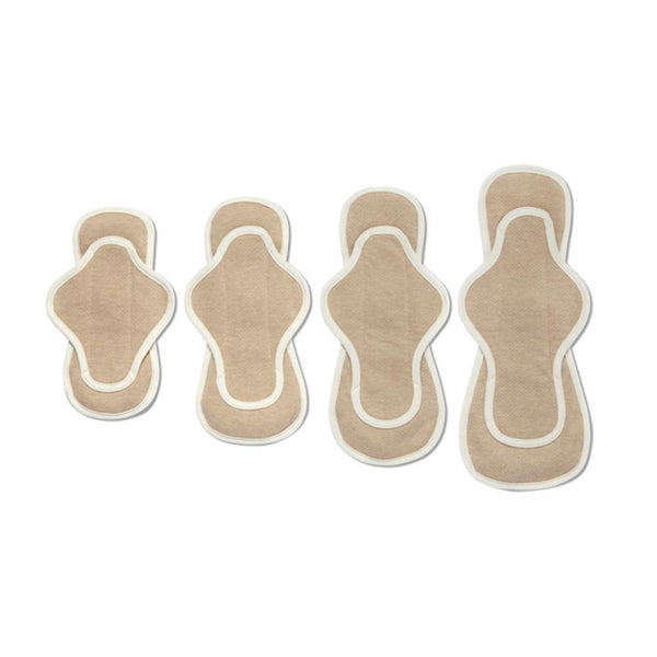 product collection image of all 4 sizes of organic reusable menstrual pads that are light brown with a white outlining seam
