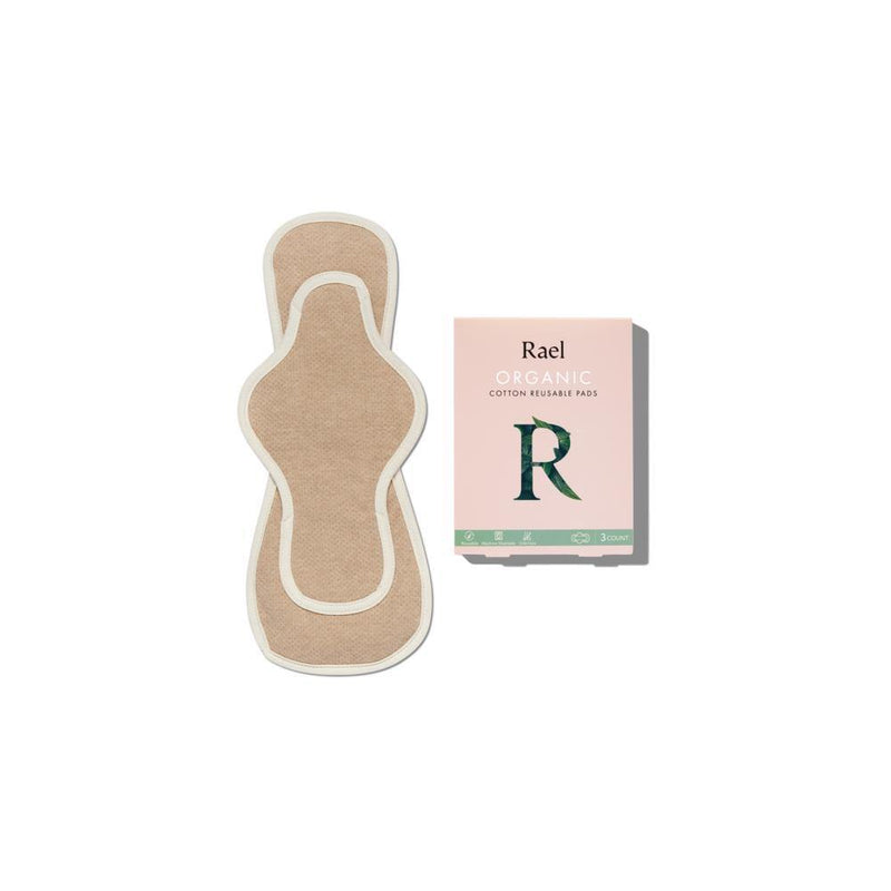 product image of an overnight sized organic reusable menstrual pad that is light brown with a white outlining seam. Also a product image of a pink cardboard packaging box.