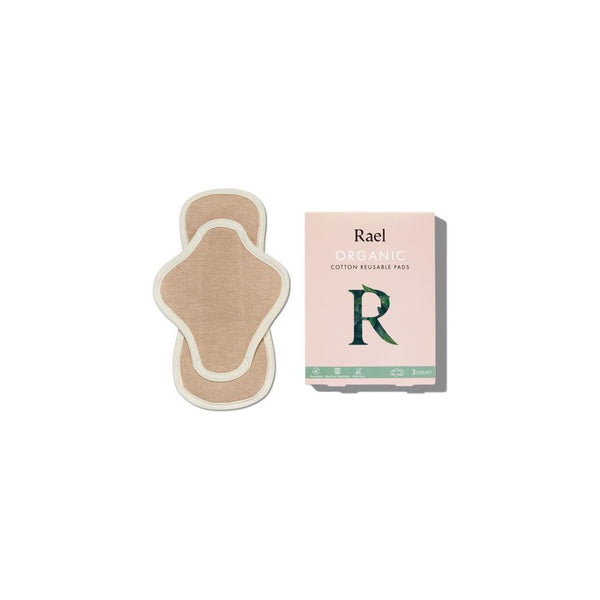 product  image of a petite sized organic reusable menstrual pad that is light brown with a white outlining seam. Also a product image of a pink cardboard  packaging box.