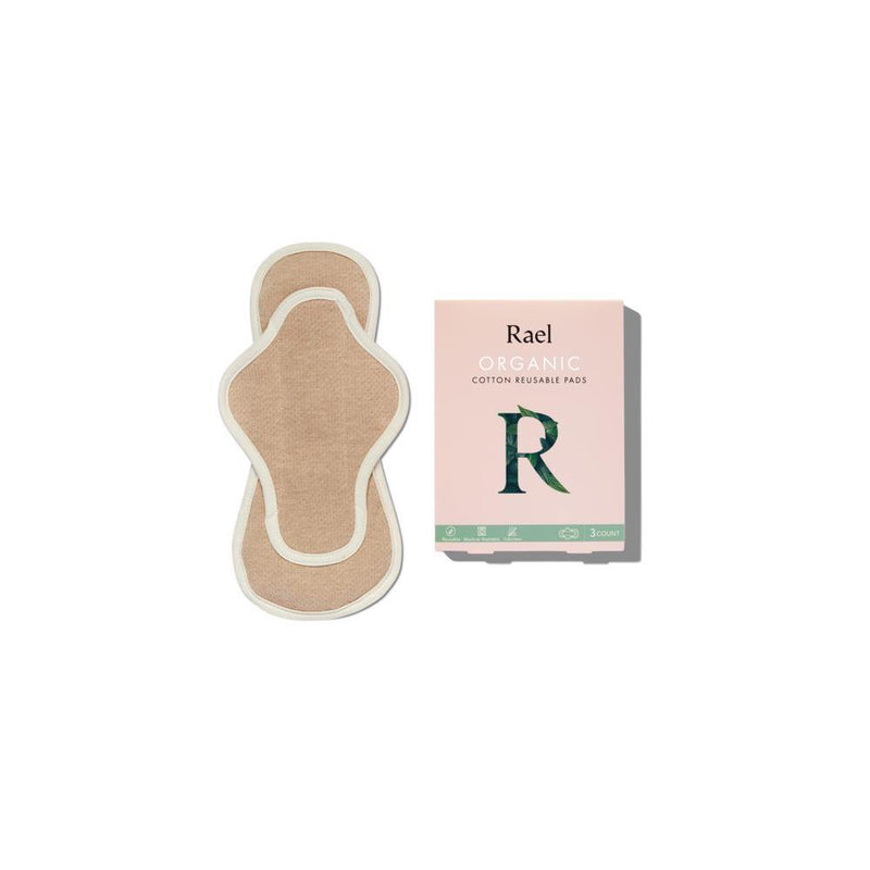 product image of a regular sized organic reusable menstrual pad that is light brown with a white outlining seam. Also a product image of a pink cardboard packaging box.