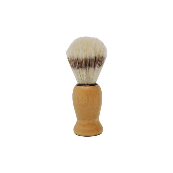 Product image of a shave brush with a natural wooden handle. The bristles are white with a brown stripe.