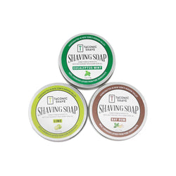 collection image of three all natural shaving soaps in three separate round 4oz. tins