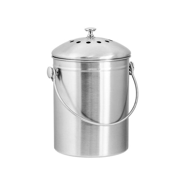 product image of a stainless steel compost bin with lid