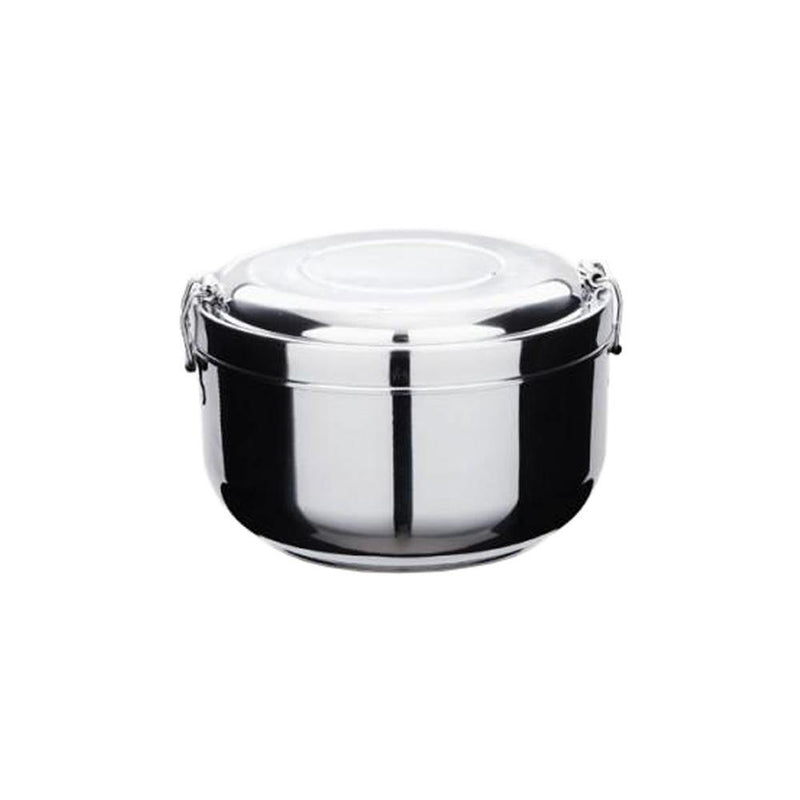 product image of a zero waste stainless steel container with lock-on lid on a white background