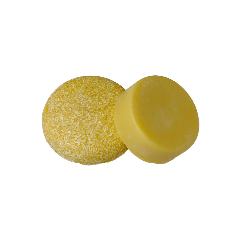 package free round yellow sweet citrus shampoo bar and round yellow sweet citrus conditioner bar