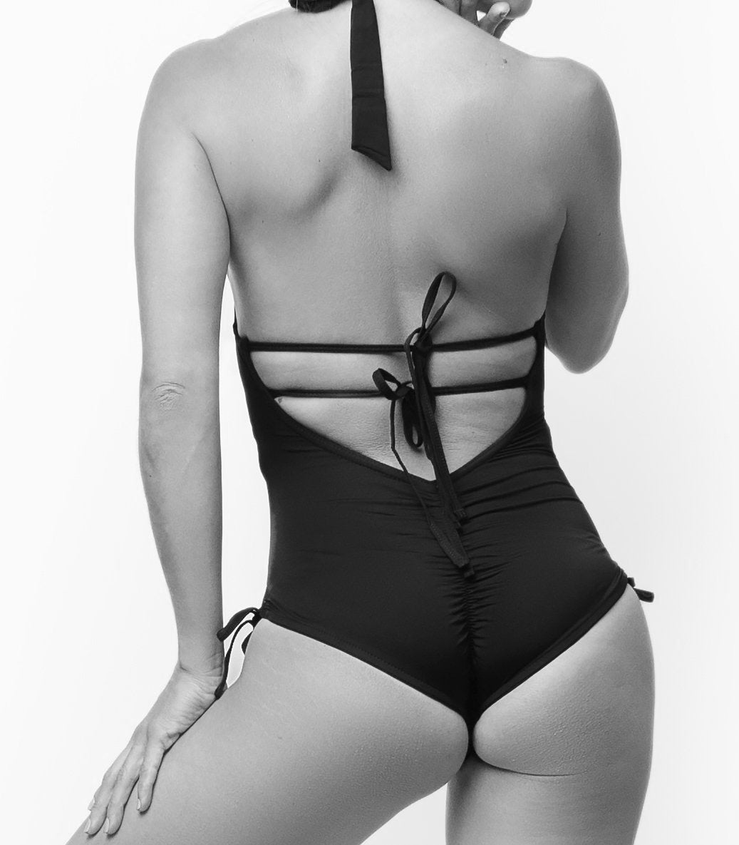 Plunging-Neck Tie-Back One-Piece Swimsuit