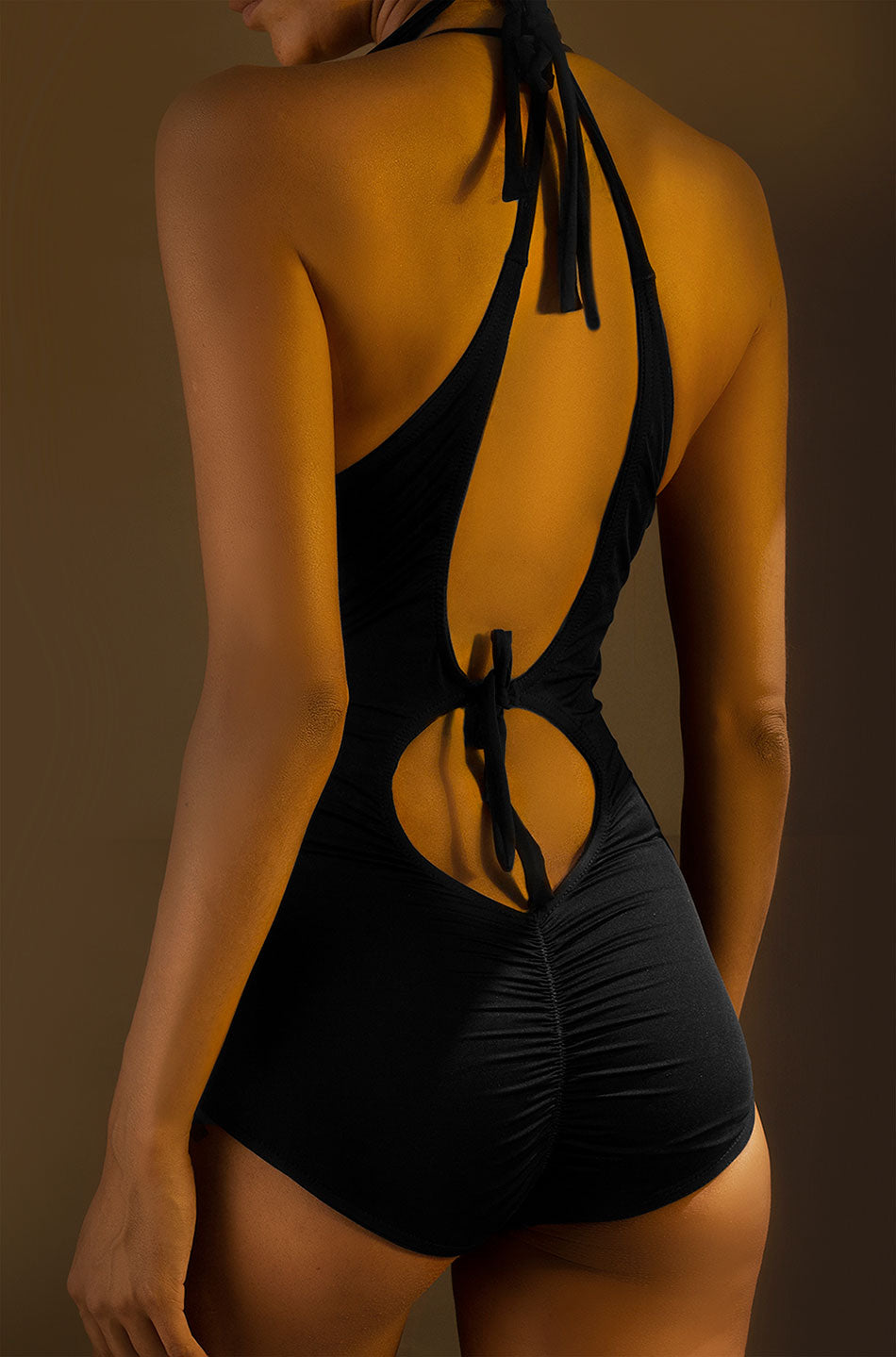 Cross-Back V-Neck One-Piece Swimsuit