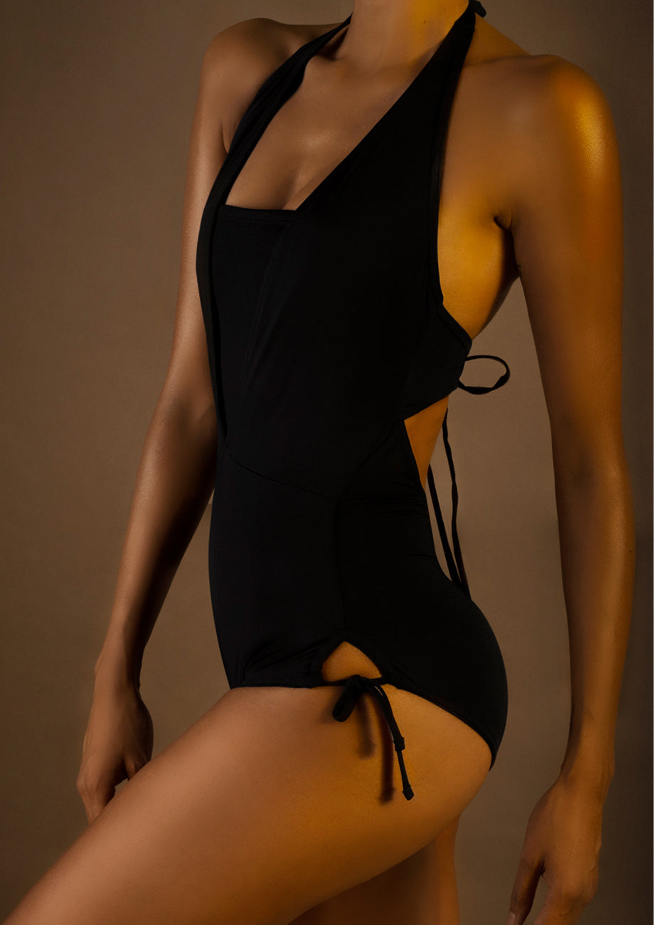 Square-Neck Knit Tie-Back One-Piece Swimsuit
