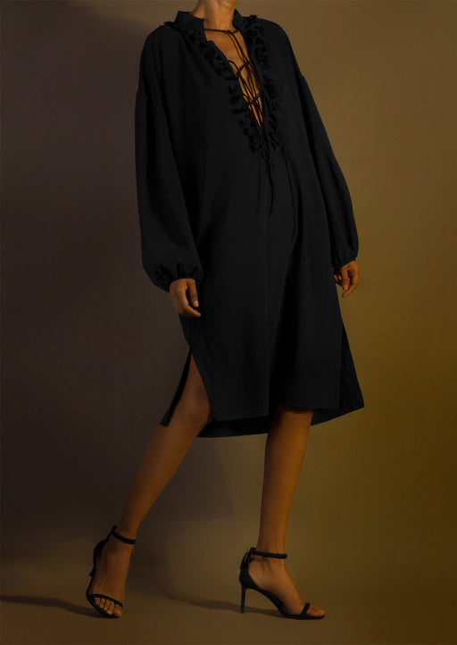 Pre-Order Silk Long-Sleeve Crewneck Dress