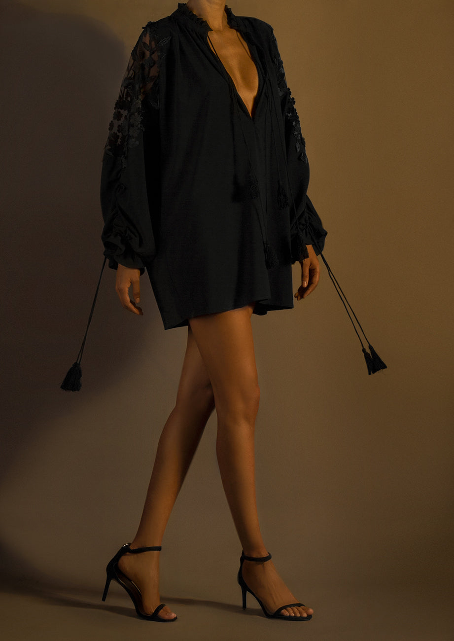 Pre-Order Silk Blouson-Sleeve Mini Shirtdress Embroidered Back And Sleeves