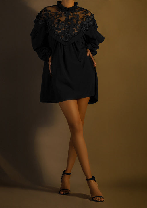 Pre-Order Silk Embroidered High-Neck Mini Shirtdress