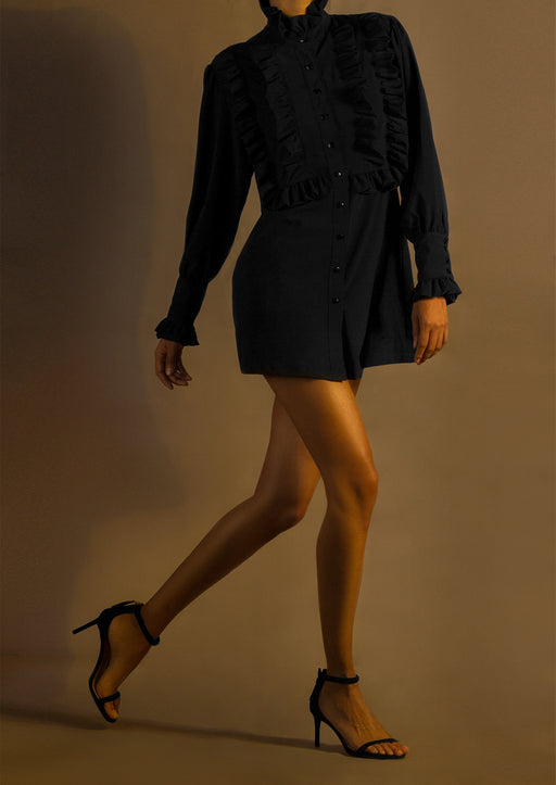 Pre-order Silk Ruffle-Trim Front Mini Shirtdress