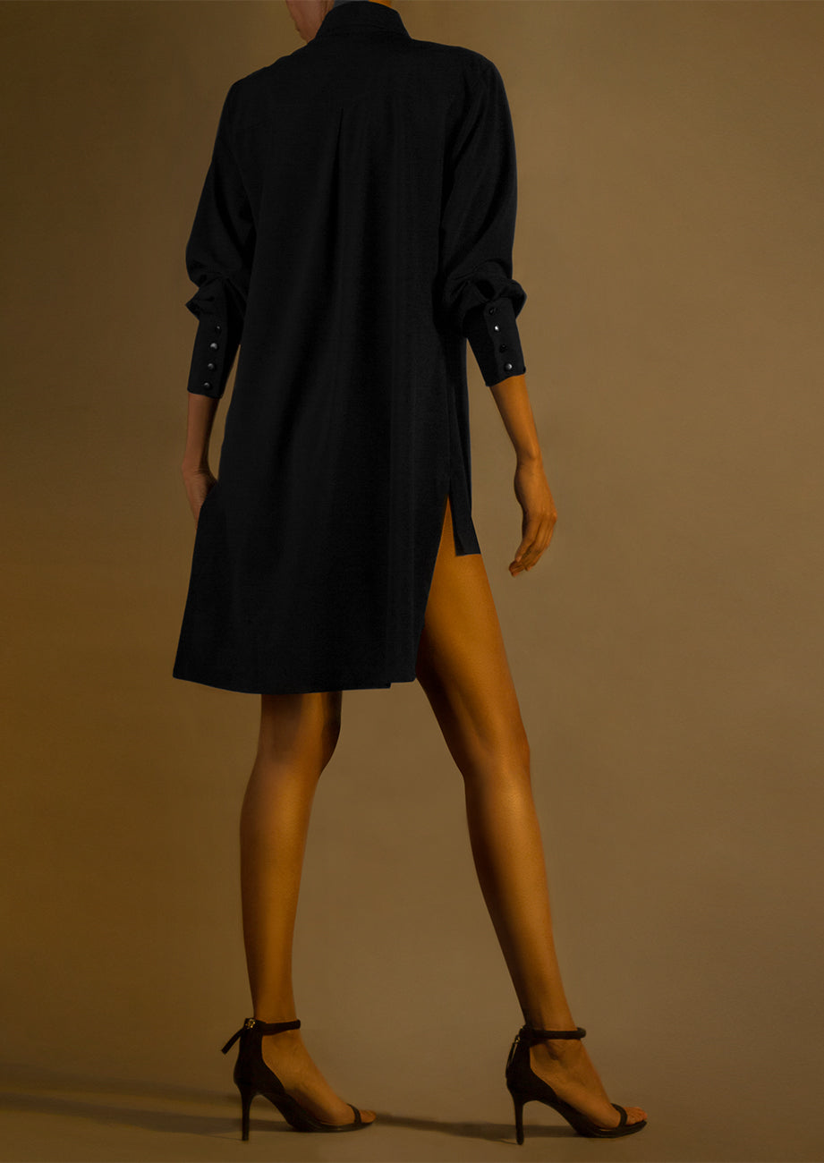 Pre-Order Silk Patch Pocket Front Mini Shirtdress