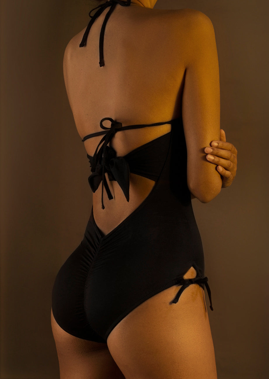 Plunging Knit Strappy One-Piece Swimsuit
