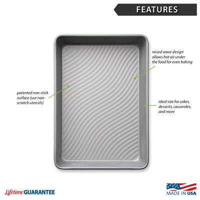 Features diagram of nonstick cake pan with Made in USA and Lifetime Guarantee logos.