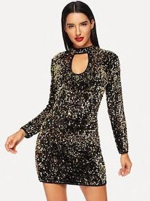 Sequin Keyhole Detail Dress