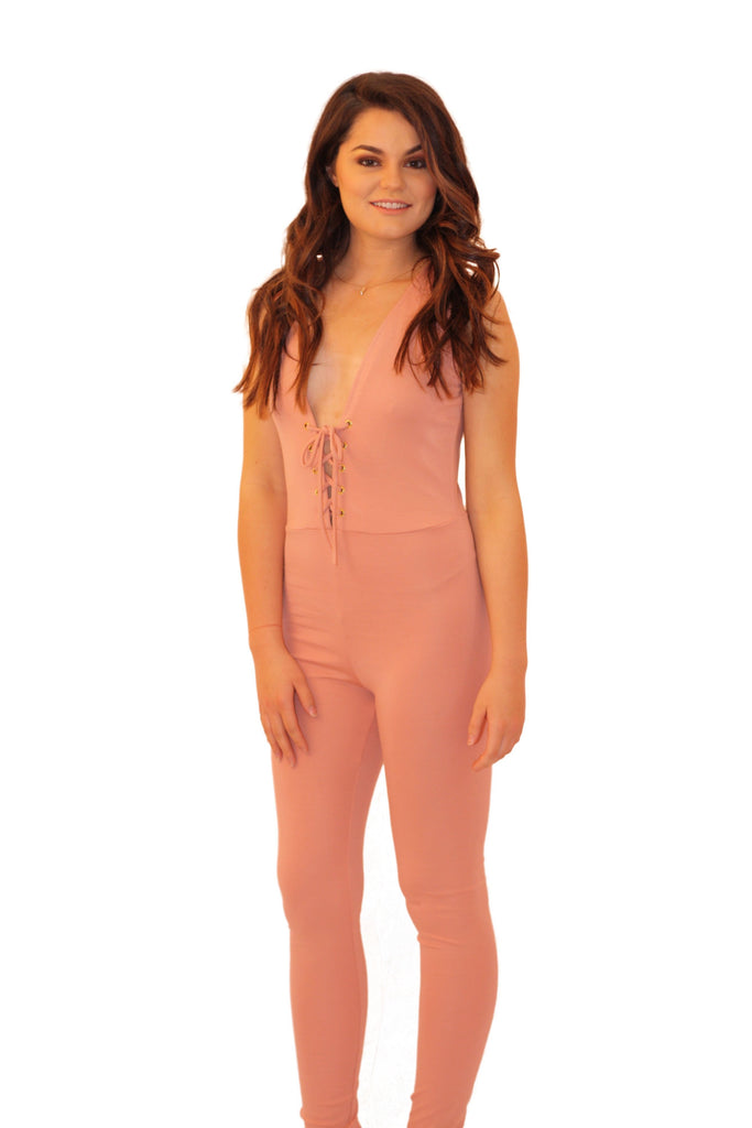 Pink Sleeveless Jumpsuit