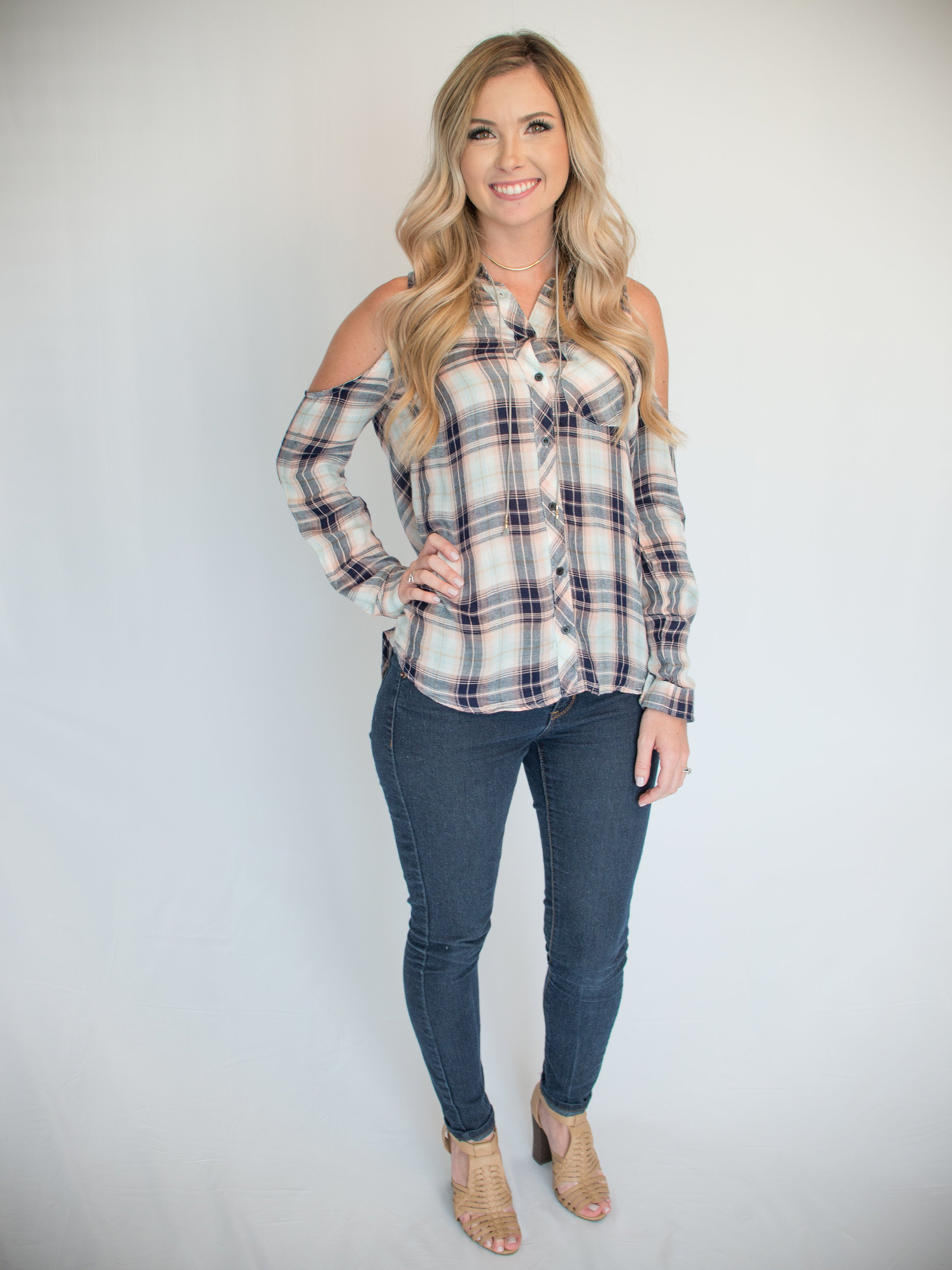 74931d145c85b7 Plaid Cold Shoulder Top - Blushing Blue – Lucky Lemon Boutique