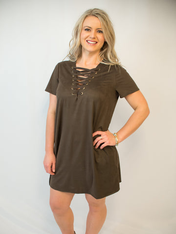 429033ad6d98 Brushed Suede Lace up Dress - Coffee.  22.00. Floral Off The Shoulder ...