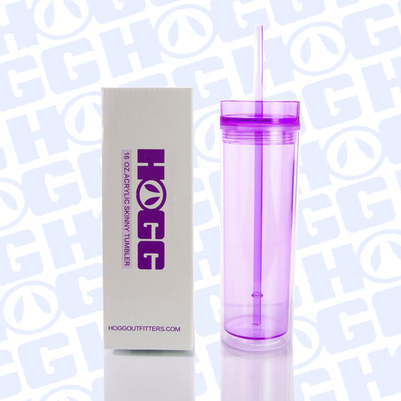 ***CLOSEOUT*** 16OZ ACRYLIC TUMBLER W/ STRAW - PURPLE