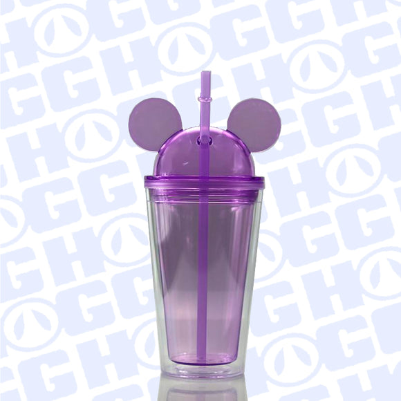 ***CLOSEOUT*** 16oz ALL EARS ACRYLIC TUMBLER W/ STRAW - PURPLE