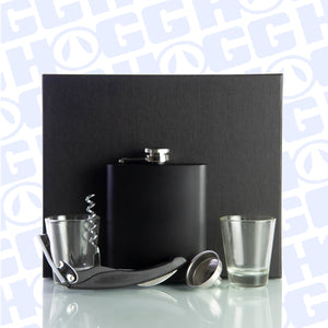 ***CLOSEOUT*** 7oz MIDNIGHT BLACK FLASK SET W/ BOTTLE OPENER & SHOT GLASSES
