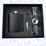 7oz MIDNIGHT BLACK FLASK SET W/ BOTTLE OPENER & SHOT GLASSES