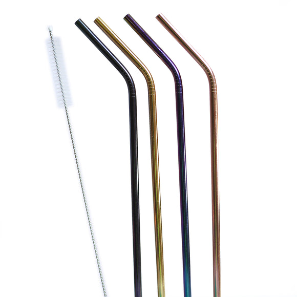 20oz or 30oz COLORED STAINLESS STEEL STRAW SET (4PACK + CLEANER)