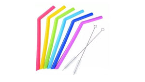 30oz JUMBO REUSABLE SILICONE DRINKING STRAWS STRAIGHT OR BENT  (6 PACK + 2 STRAW CLEANING BRUSHES)