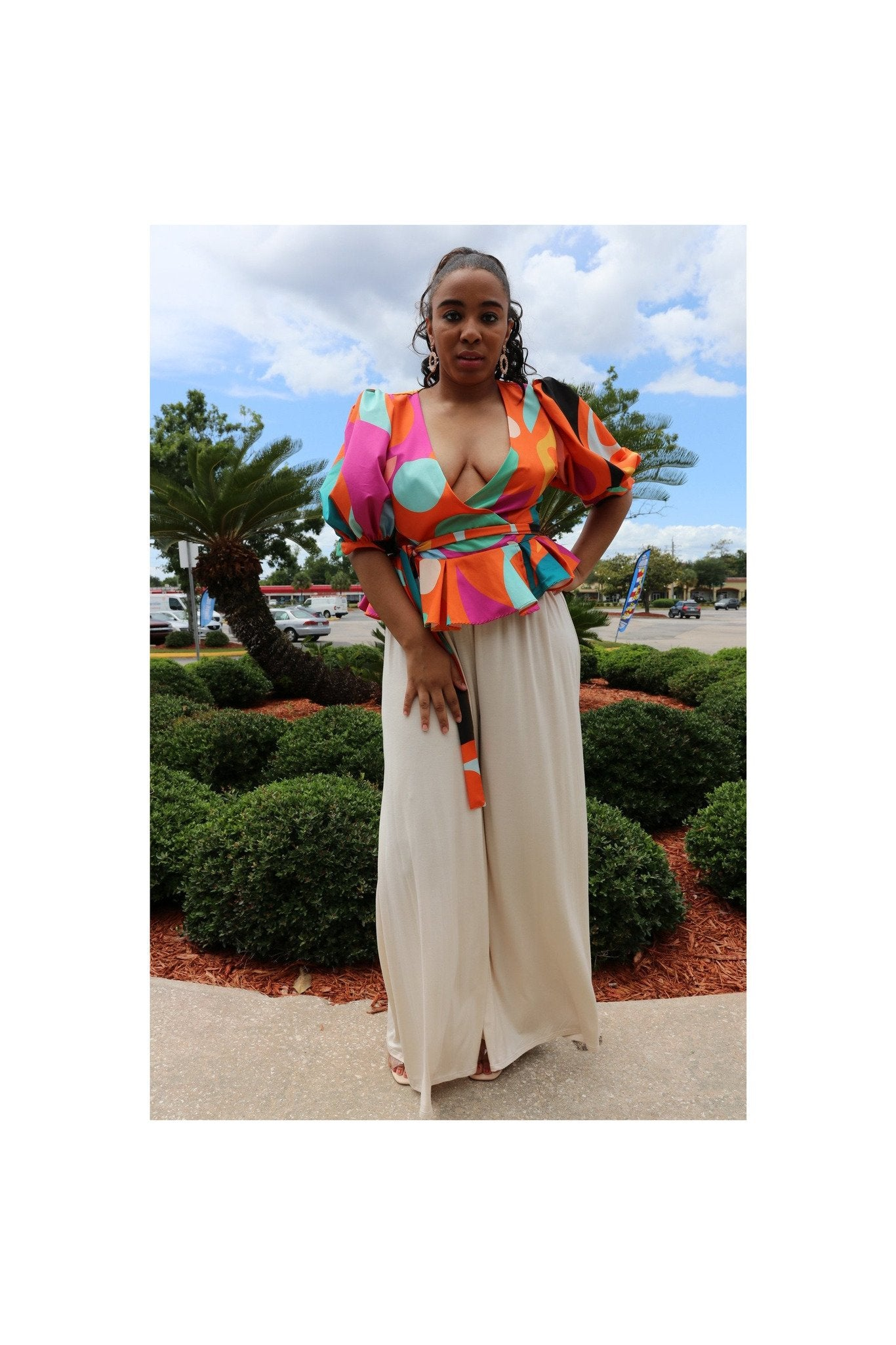 Orange Multi-Colored Wrap Blouse