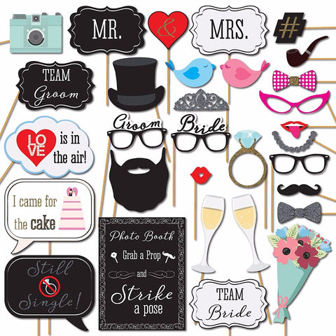 31 piece Wedding Photo Booth Props