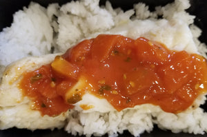 Baked Cod with Tomato Basil Sauce over Rice