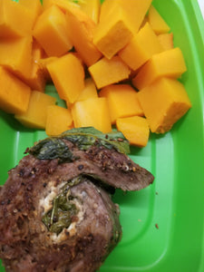 Steak spinach feta pinwheel with butternut squash