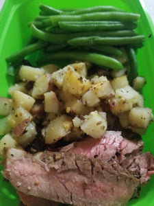 Sliced Steak with Green Beans and Red Potatoes (cooked to medium rare)