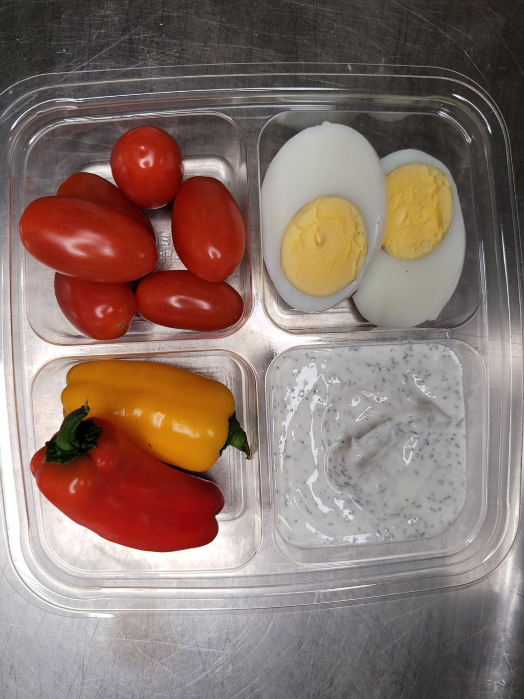 hard boiled egg, cherry tomatoes, peppers and dip  best meal delivery