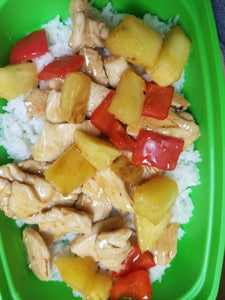 Sweet and Spicy Pineapple Chicken with Mixed Vegetables and Rice