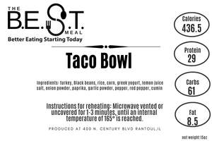 taco bowl nutrition label  best meal delivery
