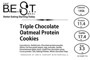 Triple Chocolate Oatmeal Protein Cookies
