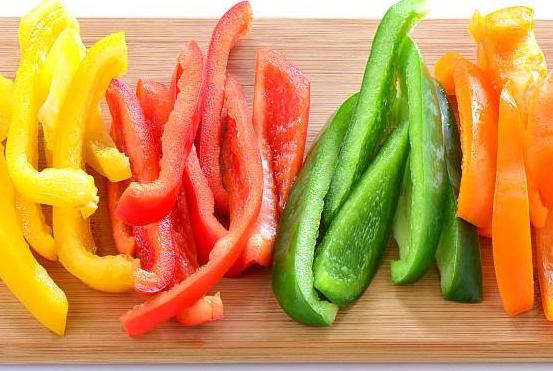 yellow, red, green and orange sliced peppers  best meal delivery