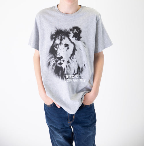 "MATTHEW ""Strong and Courageous"" Lion Graphic Tee"
